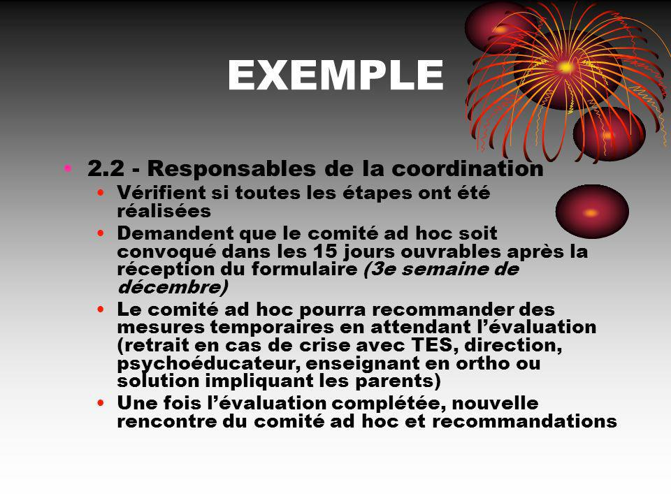 EXEMPLE Responsables de la coordination