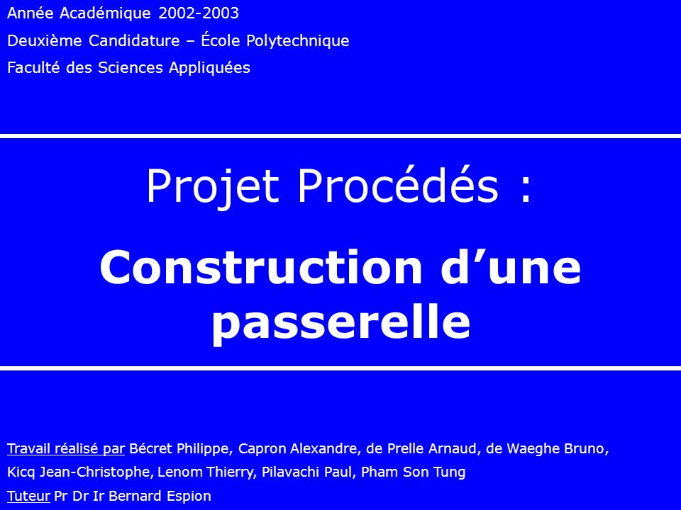 Construction d'une passerelle