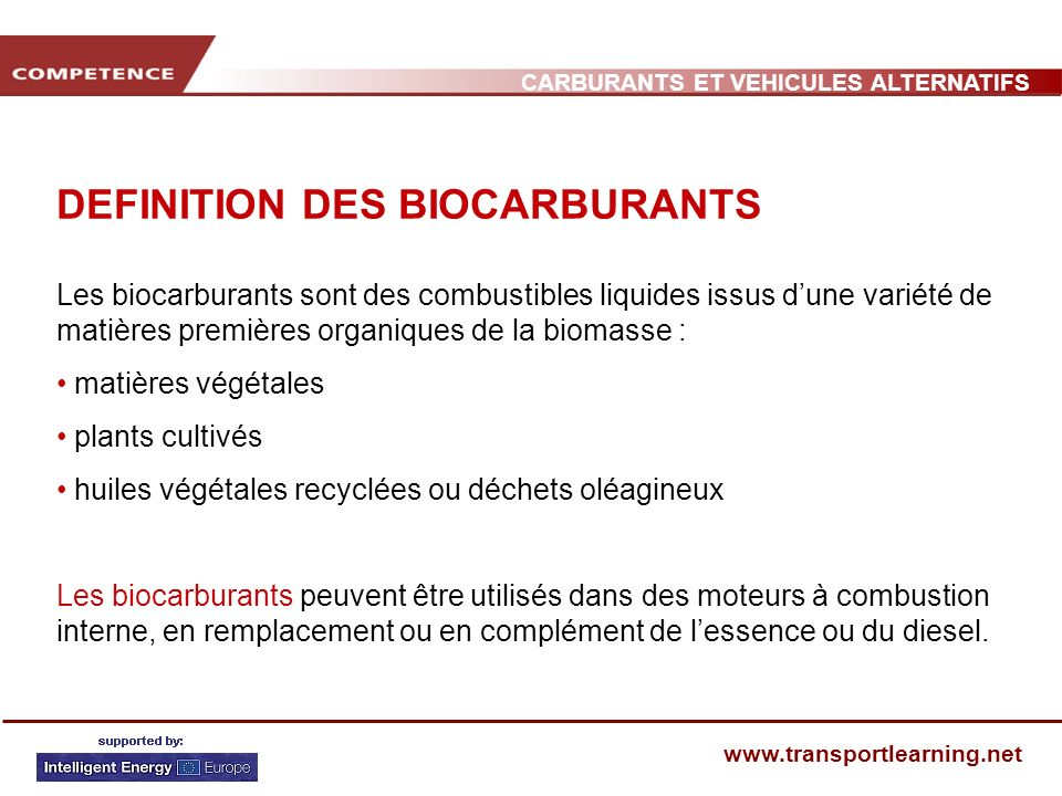 DEFINITION DES BIOCARBURANTS