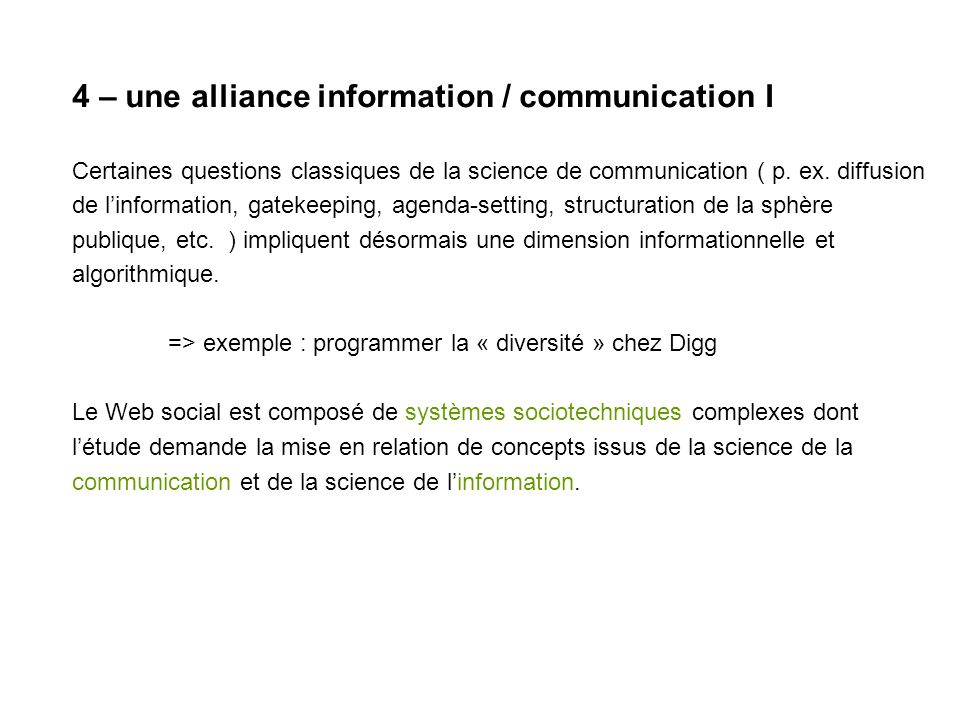 4 – alliance information / communication