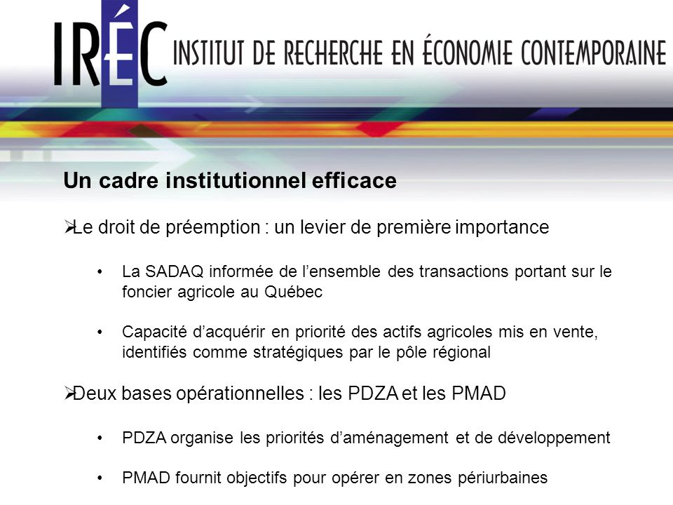 Un cadre institutionnel efficace