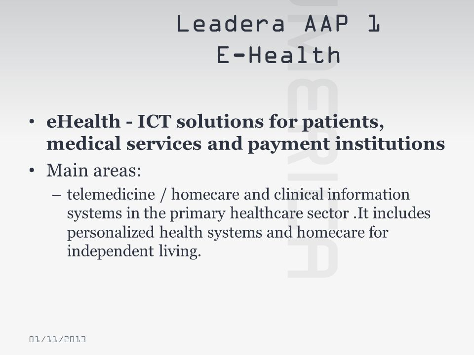 Leadera AAP 1 E-Health eHealth - ICT solutions for patients, medical services and payment institutions.