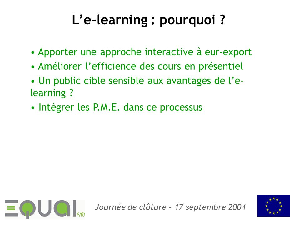 L'e-learning : pourquoi