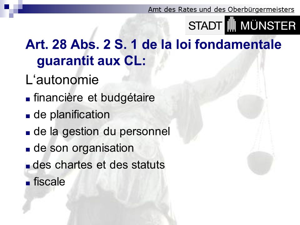 Art. 28 Abs. 2 S. 1 de la loi fondamentale guarantit aux CL: