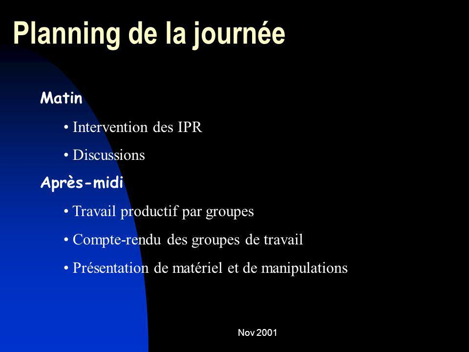 Planning de la journée Matin Intervention des IPR Discussions