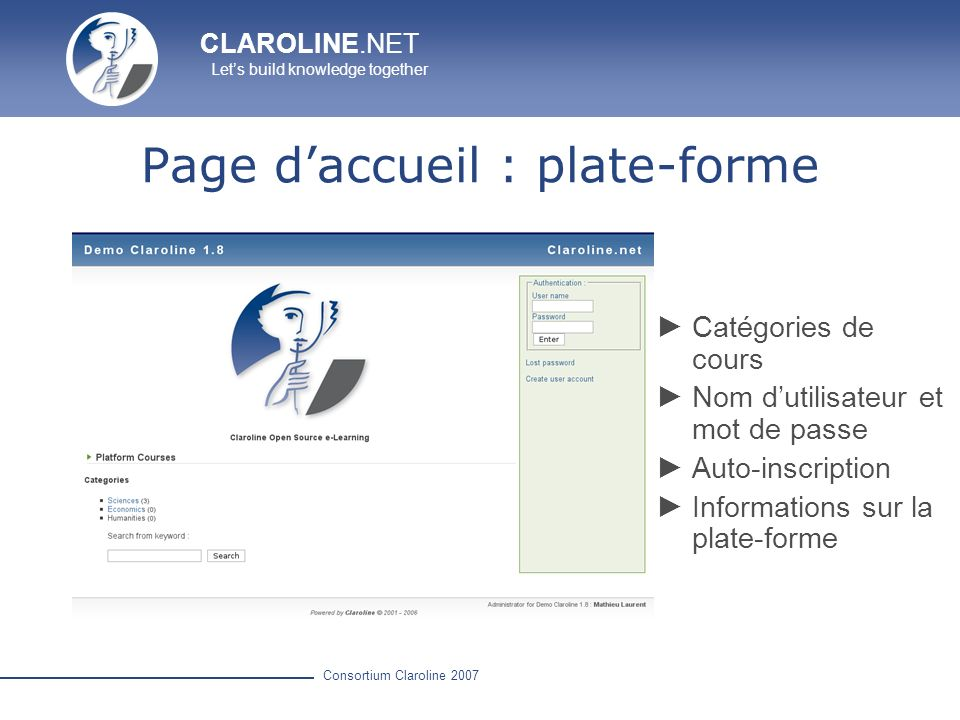 Page d'accueil : plate-forme