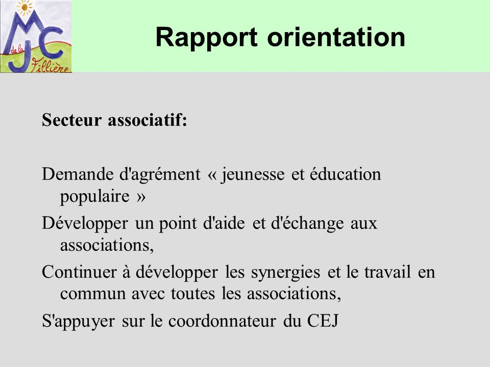 Rapport orientation Secteur associatif: