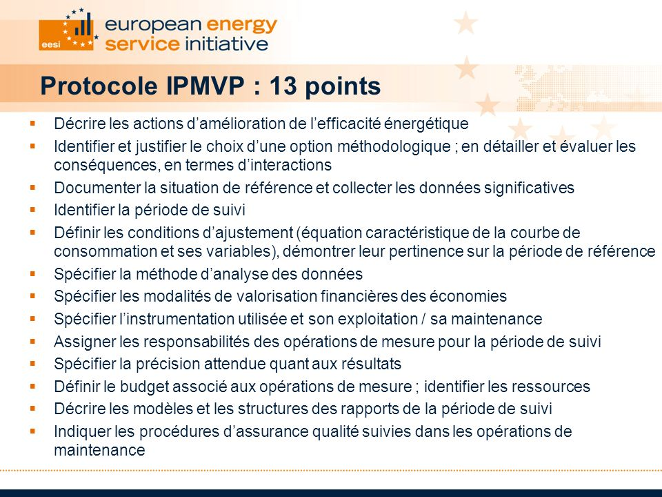 Protocole IPMVP : 13 points