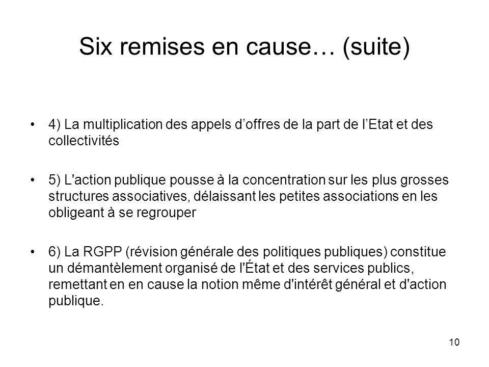Six remises en cause… (suite)