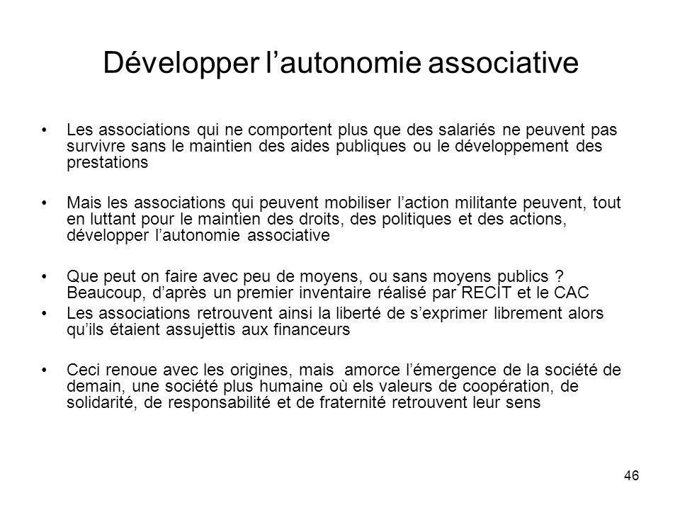Développer l'autonomie associative