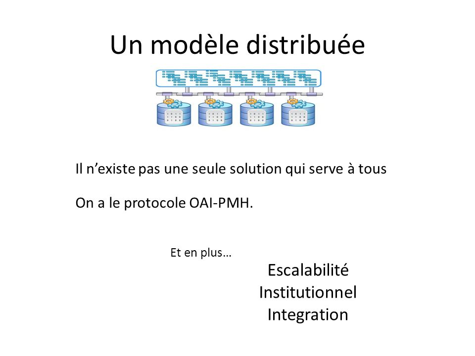 Un modèle distribuée Escalabilité Institutionnel Integration
