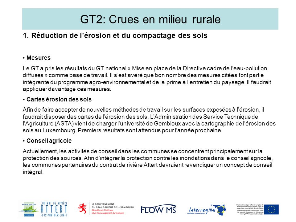 GT2: Crues en milieu rurale