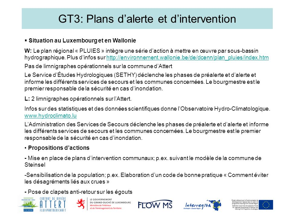 GT3: Plans d'alerte et d'intervention