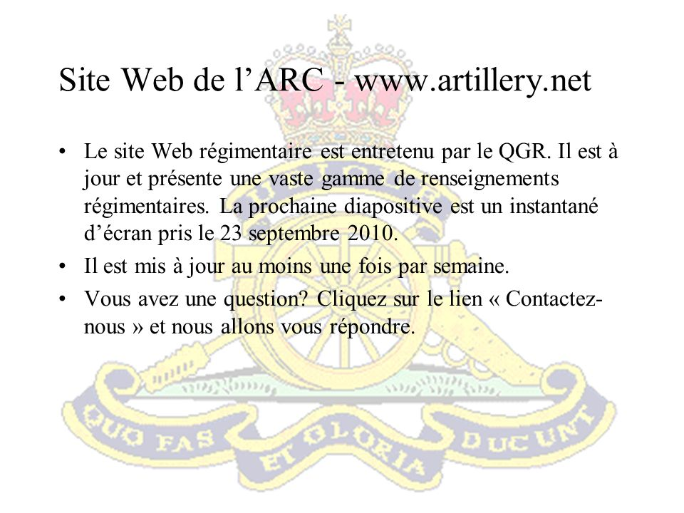 Site Web de l'ARC -
