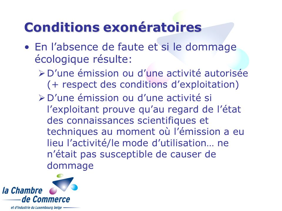 Conditions exonératoires