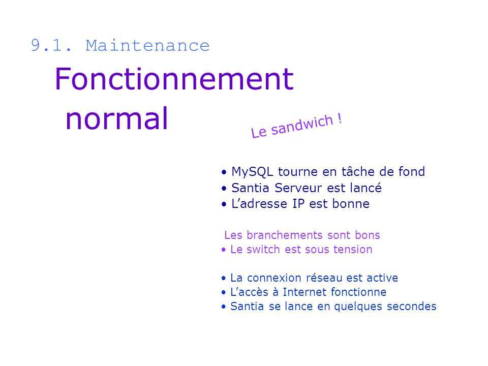 Fonctionnement normal 9.1. Maintenance Le sandwich !