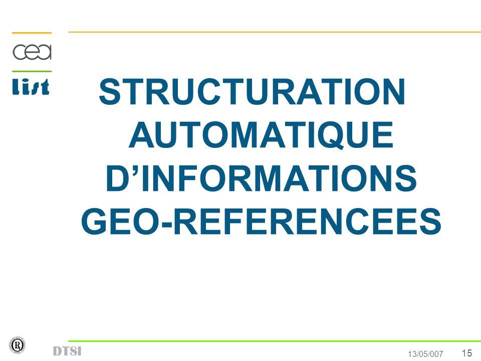 STRUCTURATION AUTOMATIQUE D'INFORMATIONS GEO-REFERENCEES