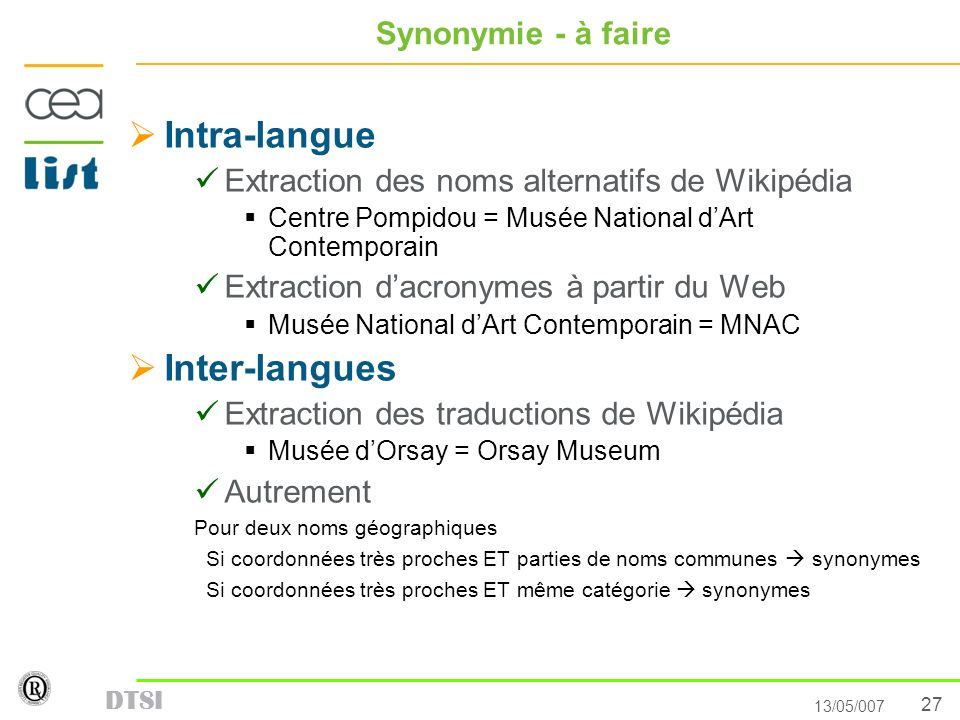 Intra-langue Inter-langues Synonymie - à faire