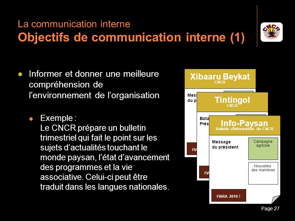 La communication interne Objectifs de communication interne (1)