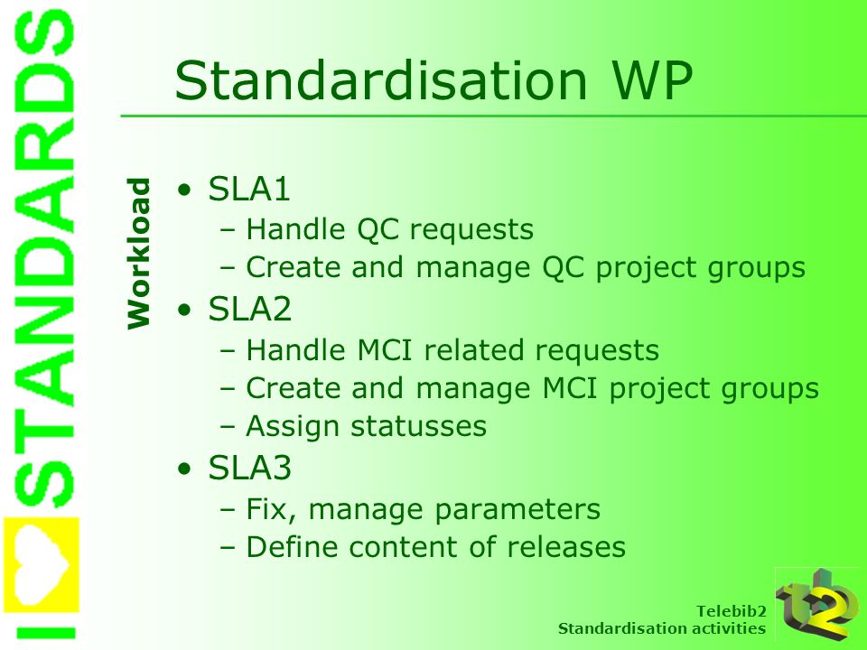 Standardisation WP SLA1 SLA2 SLA3 Handle QC requests Workload