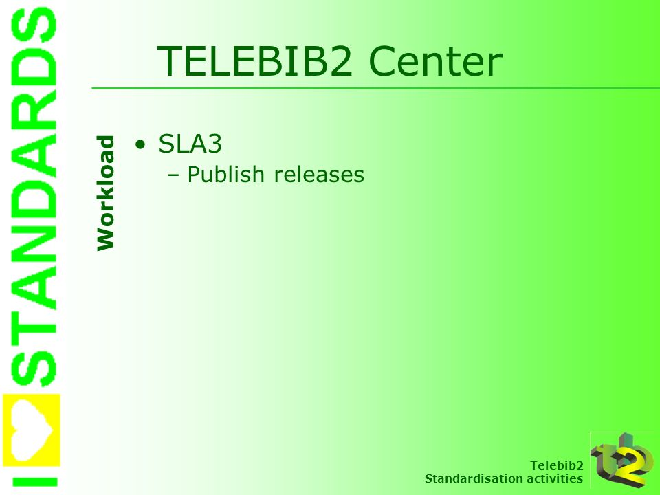 TELEBIB2 Center SLA3 Publish releases Workload