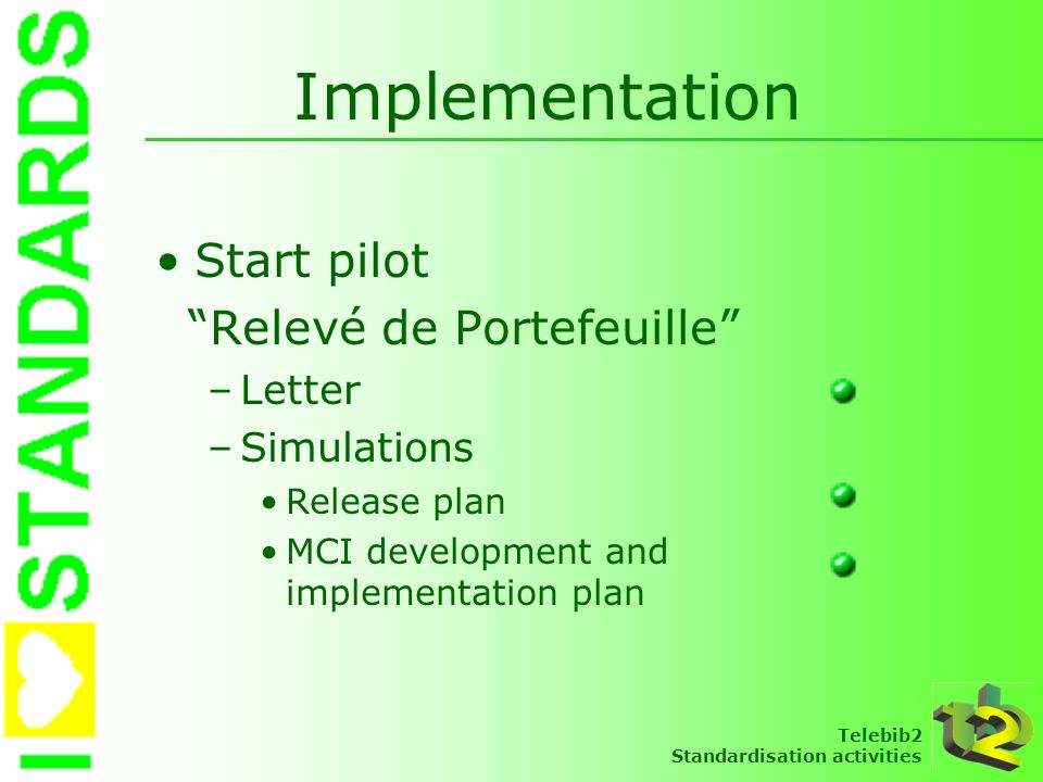 Implementation Start pilot Relevé de Portefeuille Letter Simulations