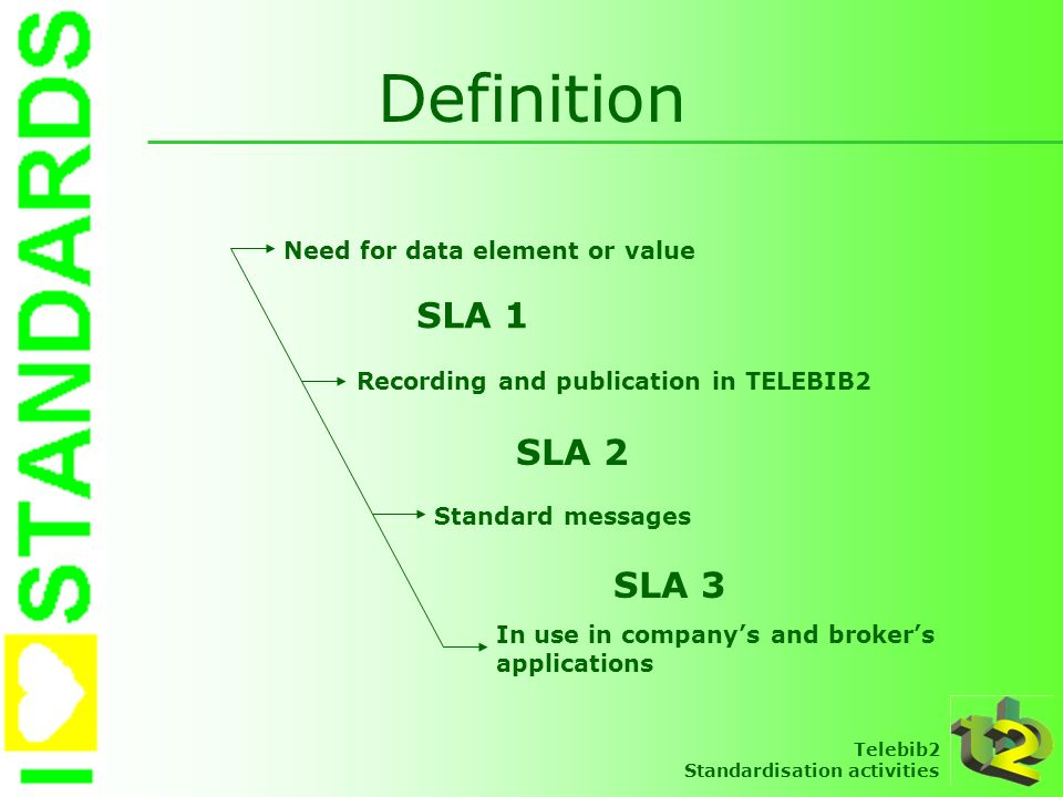 Definition SLA 1 SLA 2 SLA 3 Need for data element or value