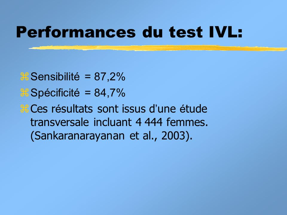 Performances du test IVL: