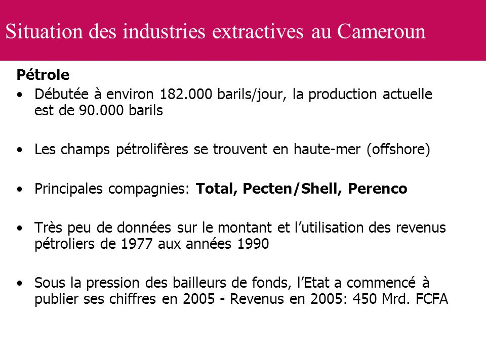 Situation des industries extractives au Cameroun