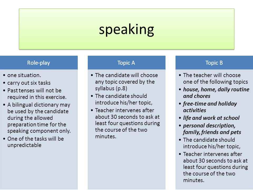 speaking Role-play one situation. carry out six tasks