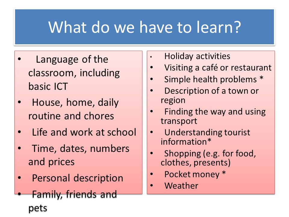 What do we have to learn Language of the classroom, including basic ICT. House, home, daily routine and chores.