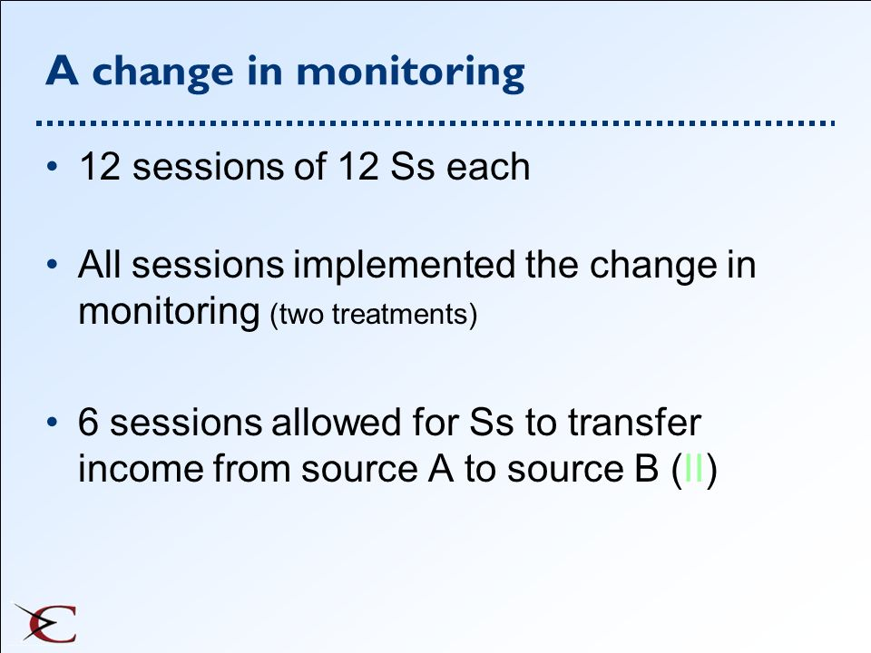 A change in monitoring 12 sessions of 12 Ss each