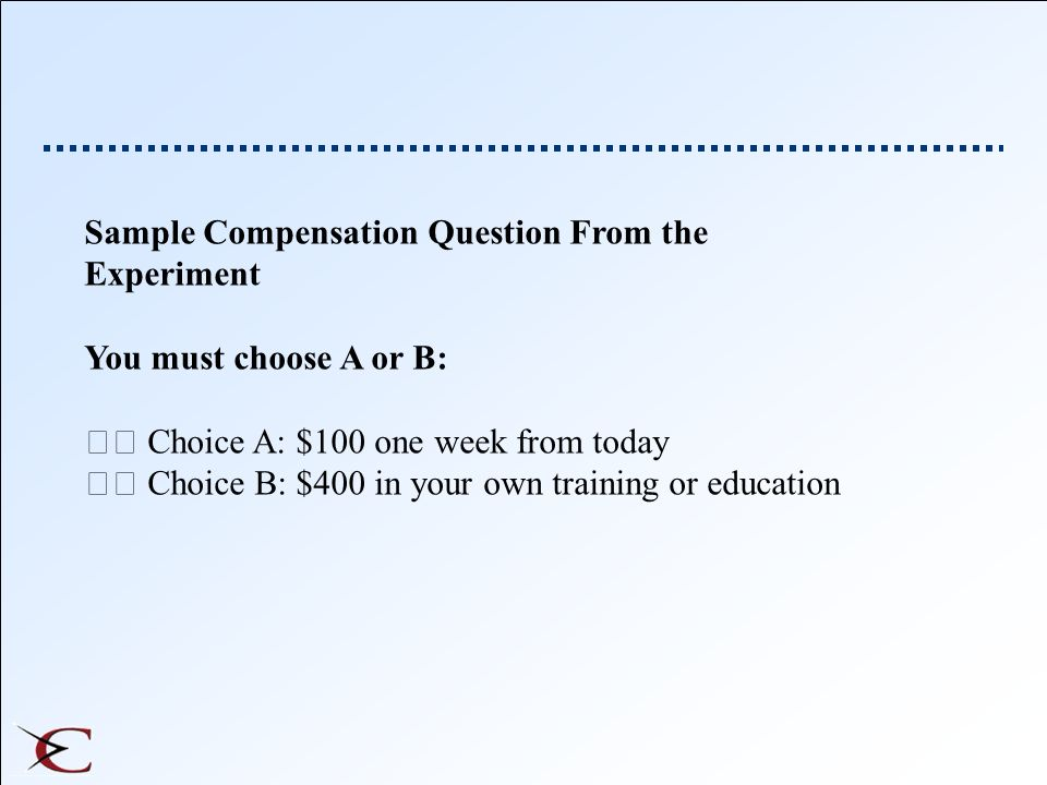 Sample Compensation Question From the Experiment