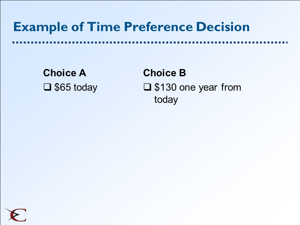 Example of Time Preference Decision